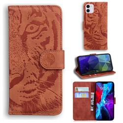 Intricate Embossing Tiger Face Leather Wallet Case for iPhone 12 / 12 Pro (6.1 inch) - Brown