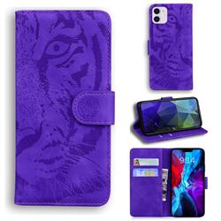 Intricate Embossing Tiger Face Leather Wallet Case for iPhone 12 / 12 Pro (6.1 inch) - Purple