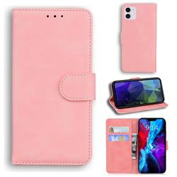 Retro Classic Skin Feel Leather Wallet Phone Case for iPhone 12 / 12 Pro (6.1 inch) - Pink