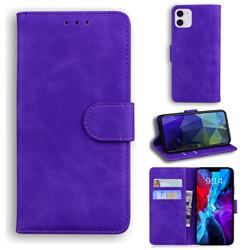 Retro Classic Skin Feel Leather Wallet Phone Case for iPhone 12 / 12 Pro (6.1 inch) - Purple