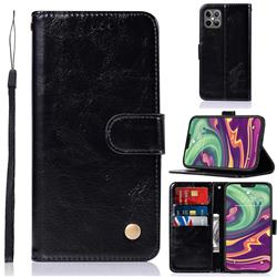 Luxury Retro Leather Wallet Case for iPhone 12 / 12 Pro (6.1 inch) - Black
