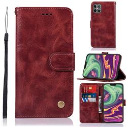 Luxury Retro Leather Wallet Case for iPhone 12 / 12 Pro (6.1 inch) - Wine Red