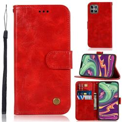 Luxury Retro Leather Wallet Case for iPhone 12 / 12 Pro (6.1 inch) - Red