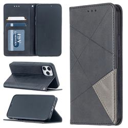 Prismatic Slim Magnetic Sucking Stitching Wallet Flip Cover for iPhone 12 / 12 Pro (6.1 inch) - Black