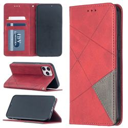 Prismatic Slim Magnetic Sucking Stitching Wallet Flip Cover for iPhone 12 / 12 Pro (6.1 inch) - Red