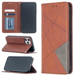 Prismatic Slim Magnetic Sucking Stitching Wallet Flip Cover for iPhone 12 / 12 Pro (6.1 inch) - Brown