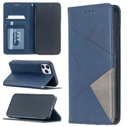 Prismatic Slim Magnetic Sucking Stitching Wallet Flip Cover for iPhone 12 / 12 Pro (6.1 inch) - Blue