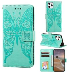 Intricate Embossing Rose Flower Butterfly Leather Wallet Case for iPhone 12 / 12 Pro (6.1 inch) - Green