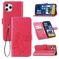 Embossing Imprint Four-Leaf Clover Leather Wallet Case for iPhone 12 / 12 Pro (6.1 inch) - Rose Red