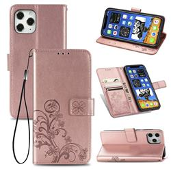 Embossing Imprint Four-Leaf Clover Leather Wallet Case for iPhone 12 / 12 Pro (6.1 inch) - Rose Gold