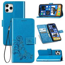 Embossing Imprint Four-Leaf Clover Leather Wallet Case for iPhone 12 / 12 Pro (6.1 inch) - Blue