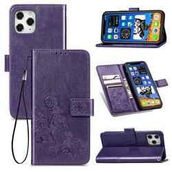 Embossing Imprint Four-Leaf Clover Leather Wallet Case for iPhone 12 / 12 Pro (6.1 inch) - Purple