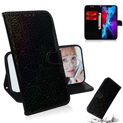 Laser Circle Shining Leather Wallet Phone Case for iPhone 12 / 12 Pro (6.1 inch) - Black
