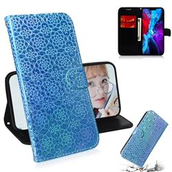 Laser Circle Shining Leather Wallet Phone Case for iPhone 12 / 12 Pro (6.1 inch) - Blue