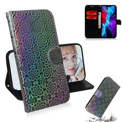 Laser Circle Shining Leather Wallet Phone Case for iPhone 12 / 12 Pro (6.1 inch) - Silver