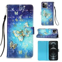 Gold Butterfly 3D Painted Leather Wallet Case for iPhone 12 / 12 Pro (6.1 inch)