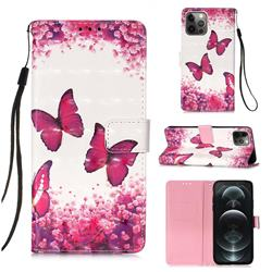 Rose Butterfly 3D Painted Leather Wallet Case for iPhone 12 / 12 Pro (6.1 inch)