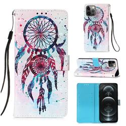 ColorDrops Wind Chimes 3D Painted Leather Wallet Case for iPhone 12 / 12 Pro (6.1 inch)