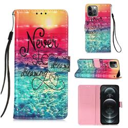 Colorful Dream Catcher 3D Painted Leather Wallet Case for iPhone 12 / 12 Pro (6.1 inch)
