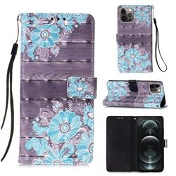 Blue Flower 3D Painted Leather Wallet Case for iPhone 12 / 12 Pro (6.1 inch)
