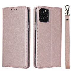 Ultra Slim Magnetic Automatic Suction Silk Lanyard Leather Flip Cover for iPhone 12 / 12 Pro (6.1 inch) - Rose Gold