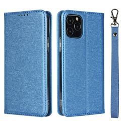 Ultra Slim Magnetic Automatic Suction Silk Lanyard Leather Flip Cover for iPhone 12 / 12 Pro (6.1 inch) - Sky Blue