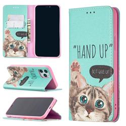 Hand Up Cat Slim Magnetic Attraction Wallet Flip Cover for iPhone 12 / 12 Pro (6.1 inch)