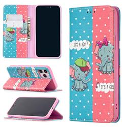 Elephant Boy and Girl Slim Magnetic Attraction Wallet Flip Cover for iPhone 12 / 12 Pro (6.1 inch)