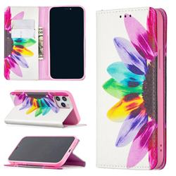 Sun Flower Slim Magnetic Attraction Wallet Flip Cover for iPhone 12 / 12 Pro (6.1 inch)