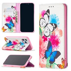 Flying Butterflies Slim Magnetic Attraction Wallet Flip Cover for iPhone 12 / 12 Pro (6.1 inch)