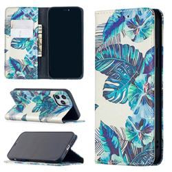 Blue Leaf Slim Magnetic Attraction Wallet Flip Cover for iPhone 12 / 12 Pro (6.1 inch)