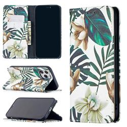 Flower Leaf Slim Magnetic Attraction Wallet Flip Cover for iPhone 12 / 12 Pro (6.1 inch)
