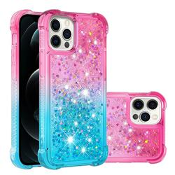Rainbow Gradient Liquid Glitter Quicksand Sequins Phone Case for iPhone 12 / 12 Pro (6.1 inch) - Pink Blue