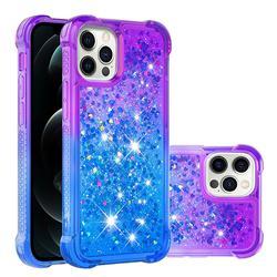 Rainbow Gradient Liquid Glitter Quicksand Sequins Phone Case for iPhone 12 / 12 Pro (6.1 inch) - Purple Blue