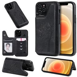 Luxury Tree and Cat Multifunction Magnetic Card Slots Stand Leather Phone Back Cover for iPhone 12 / 12 Pro (6.1 inch) - Black