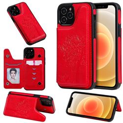 Luxury Tree and Cat Multifunction Magnetic Card Slots Stand Leather Phone Back Cover for iPhone 12 / 12 Pro (6.1 inch) - Red