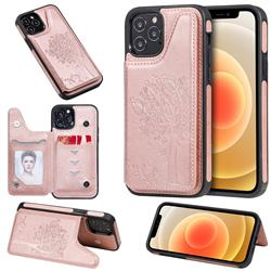Luxury Tree and Cat Multifunction Magnetic Card Slots Stand Leather Phone Back Cover for iPhone 12 / 12 Pro (6.1 inch) - Rose Gold