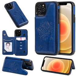 Luxury Tree and Cat Multifunction Magnetic Card Slots Stand Leather Phone Back Cover for iPhone 12 / 12 Pro (6.1 inch) - Blue