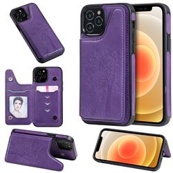 Luxury Tree and Cat Multifunction Magnetic Card Slots Stand Leather Phone Back Cover for iPhone 12 / 12 Pro (6.1 inch) - Purple