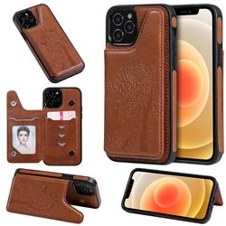 Luxury Tree and Cat Multifunction Magnetic Card Slots Stand Leather Phone Back Cover for iPhone 12 / 12 Pro (6.1 inch) - Brown