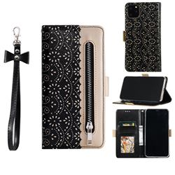 Luxury Lace Zipper Stitching Leather Phone Wallet Case for iPhone 12 / 12 Pro (6.1 inch) - Black