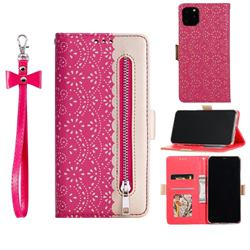 Luxury Lace Zipper Stitching Leather Phone Wallet Case for iPhone 12 / 12 Pro (6.1 inch) - Rose