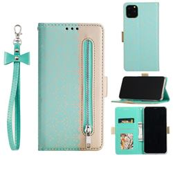 Luxury Lace Zipper Stitching Leather Phone Wallet Case for iPhone 12 / 12 Pro (6.1 inch) - Green