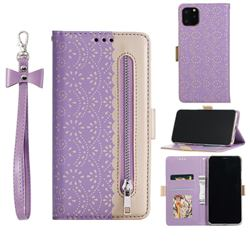Luxury Lace Zipper Stitching Leather Phone Wallet Case for iPhone 12 / 12 Pro (6.1 inch) - Purple
