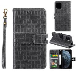 Luxury Crocodile Magnetic Leather Wallet Phone Case for iPhone 12 / 12 Pro (6.1 inch) - Gray