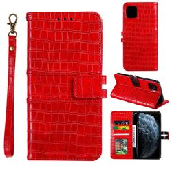 Luxury Crocodile Magnetic Leather Wallet Phone Case for iPhone 12 / 12 Pro (6.1 inch) - Red