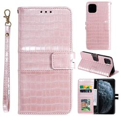 Luxury Crocodile Magnetic Leather Wallet Phone Case for iPhone 12 / 12 Pro (6.1 inch) - Rose Gold