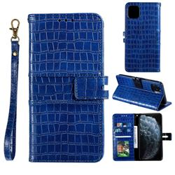 Luxury Crocodile Magnetic Leather Wallet Phone Case for iPhone 12 / 12 Pro (6.1 inch) - Blue