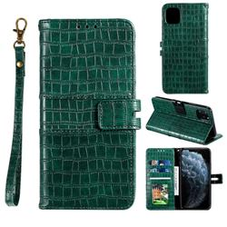 Luxury Crocodile Magnetic Leather Wallet Phone Case for iPhone 12 / 12 Pro (6.1 inch) - Green