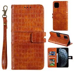 Luxury Crocodile Magnetic Leather Wallet Phone Case for iPhone 12 / 12 Pro (6.1 inch) - Brown